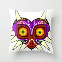 majoras mask Throw Pillows featuring Majoras Mask by fiono