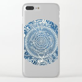 Diamond and Doodle Mandala On Blue Clear iPhone Case