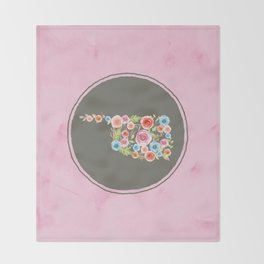 Oklahoma Watercolor Flowers on Pink and Gray Throw Blanket
