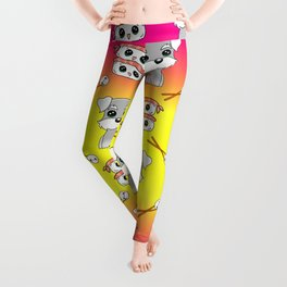 Cute cuddly funny baby Schnauzer puppies, happy cheerful sushi with shrimp on top, rice balls and chopsticks bright sunny yellow and pink pattern design. Leggings
