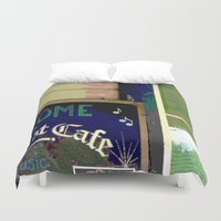 cafe Duvet Covers featuring Cafe by Glenn Designs