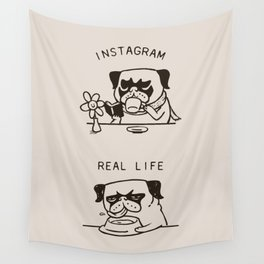 Instagram vs Real Life Wall Tapestry