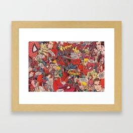 Spiderman comic book collage Framed Art Print