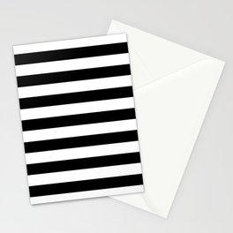 Large Black and White Horizontal Cabana Stripe Stationery Cards