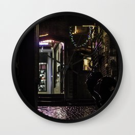 Nice alley in Brussels at night Wall Clock