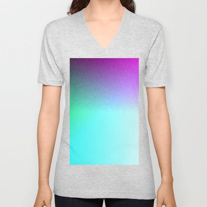Six Color Ombre Cyan, Purple, Green, Pink, Purple, Blue, Spectrum Flame Texture  Unisex V-Neck