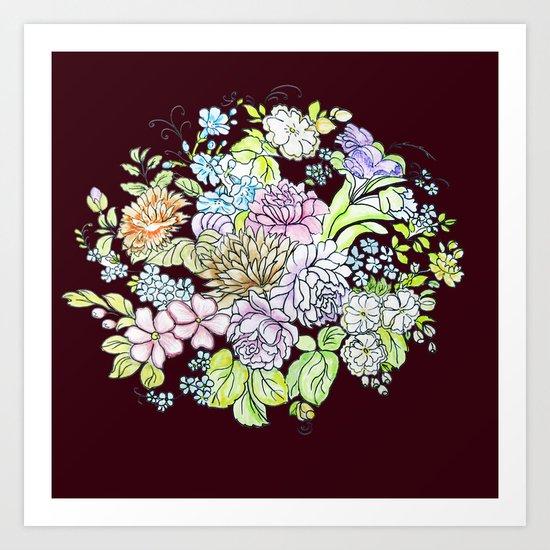 flowers on brown background Art Print