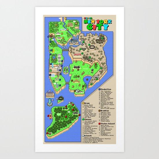 Super Mario NYC Art Print