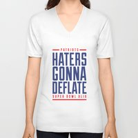 patriots V-neck T-shirts featuring Patriots Haters Gonna Deflate by PatsSwag