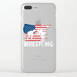 Wresting American Flag Wrestlers Print Clear iPhone Case