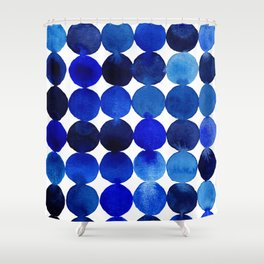Blue Circles in Watercolor Shower Curtain