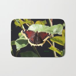 Mourning Cloak Butterfly at Rest on a Rose Leaf Bath Mat