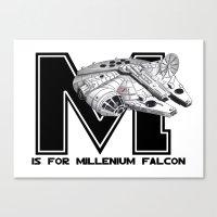 millenium falcon Canvas Prints featuring M is for Millenium Falcon by Koi Moon