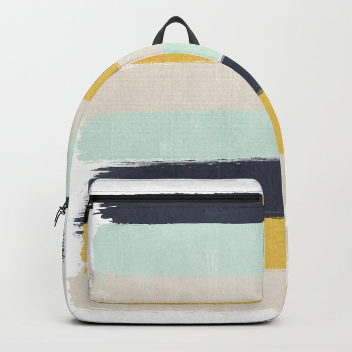 Abstract stripes hand painted brushstrokes mint grey and navy gender neutral color palette Backpack