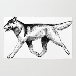 Siberian Husky Movement Study Rug