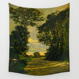 Claude Monet Impressionist Landscape Oil Painting Walk (Road of the Farm Saint-Siméon) 1864 Wall Tapestry