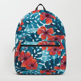 Tropical Hibiscus Pattern Red Backpack