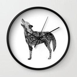 Henna-Inspired Wolf Wall Clock