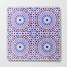 -A16- Traditional Blue Moroccan Tile Pattern. Metal Print