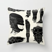 robocop Throw Pillows featuring Decommissioned: Robocop by Josh Ln