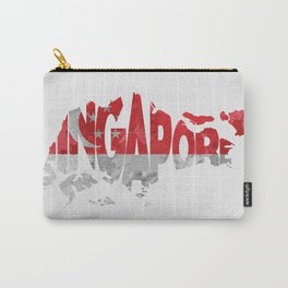 Singapore Typographic Flag / Map Art Carry-All Pouch