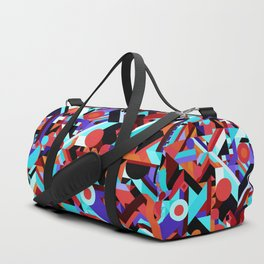CRAZY CHAOS ABSTRACT GEOMETRIC SHAPES PATTERN (ORANGE RED WHITE BLACK BLUES) Duffle Bag