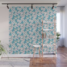 Mahjong Tiles Jumbled Across Aqua Background With Swirls Wall Mural