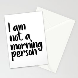 I Am Not A Morning Person, Art, Modern Quote, Typography Wall Printable, Printable Art Stationery Cards