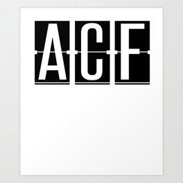 ACF - Brisbane - Queensland Australia - Airport Code Souvenir or Gift Design  Art Print