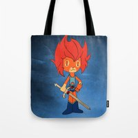 thundercats Tote Bags featuring Lion-o by Christophe Chiozzi