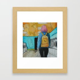 The Girl With the Yellow Backpack Framed Art Print