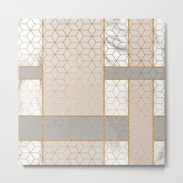 Golden Pastel Marble Geometric Design Metal Print