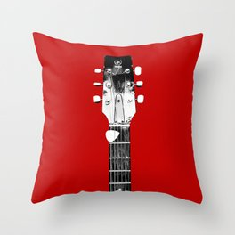 Guitar - Head, Red Background Throw Pillow