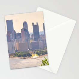 Pittsburgh Downtown Steel City Skyline Point State Park Fountain Print Stationery Cards