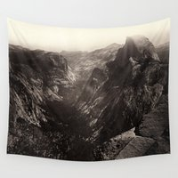 yosemite Wall Tapestries featuring Half Dome, Yosemite Valley, California by Chateau Partay