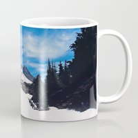 robin hood Mugs featuring Mt. Hood by Leah Flores