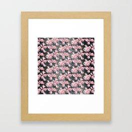 Night Rose Garden Pattern Framed Art Print