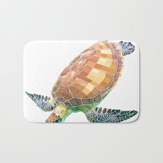 The Green Sea Turtle (Colored) Bath Mat