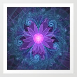 Blown Glass Flower of an ElectricBlue Fractal Iris Art Print