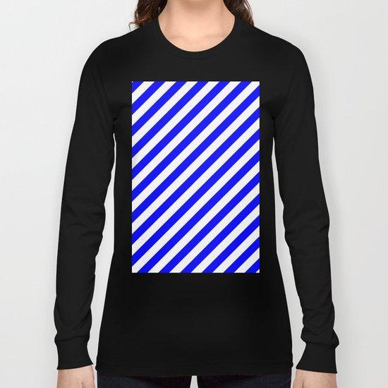Diagonal Stripes (Blue/White) Long Sleeve T-shirt