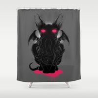 lovecraft Shower Curtains featuring Cathulhu by angrymonk