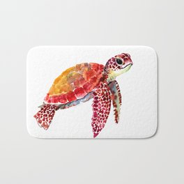 Baby Turtle decor, nursery art decor children room orange red Bath Mat