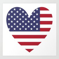 American Flag in My Heart Art Print