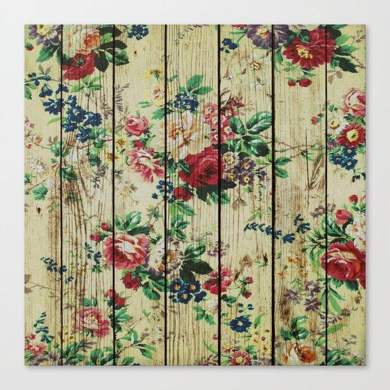 Flowers on Wood 01 Canvas Print