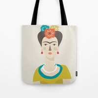 frida Tote Bags featuring Frida by Judy Kaufmann