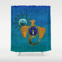 native american Shower Curtains featuring Of Sky Native American by BohemianBound