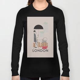 London - In the City - Retro Travel Poster Design Long Sleeve T-shirt