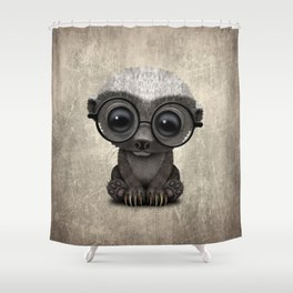 Cute Nerdy Honey Badger Wearing Glasses Shower Curtain