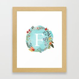 Personalized Monogram Initial Letter F Blue Watercolor Flower Wreath Artwork Framed Art Print