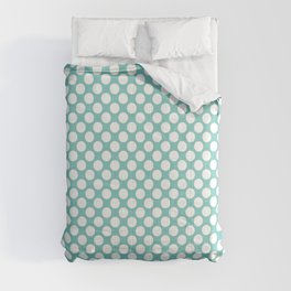 Polka dots - turquoise and white Comforters